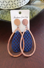 Load image into Gallery viewer, Blue | Wooden Oval Shape Earrings
