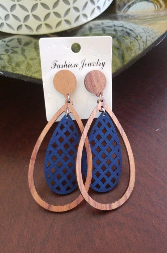 Blue | Wooden Oval Shape Earrings