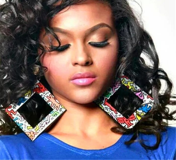 Square Multicolor Pattern Earrings