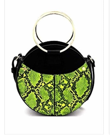 Lime Green Faux Snake Skin Handbag