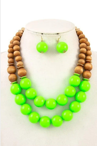 Lime Double Row Wood Bead Necklace Set