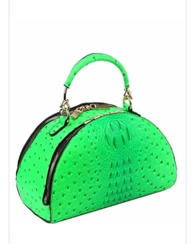 Faux Ostrich Lime Green Dome Satchel
