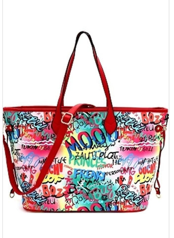 Multicolor Graffiti Inspired Tote Bag