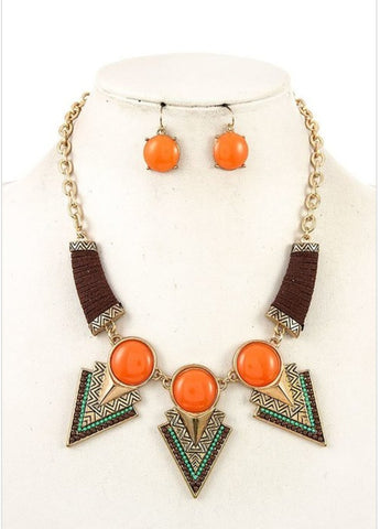 Triangle Etched Bib Necklace