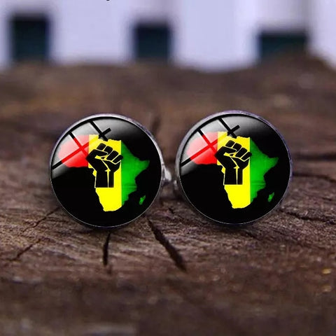 Red Green Yellow Black Fist Cufflinks