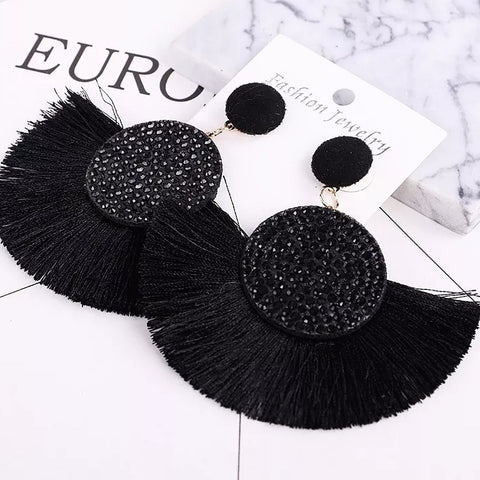 Black Tassel Fringe Earrings