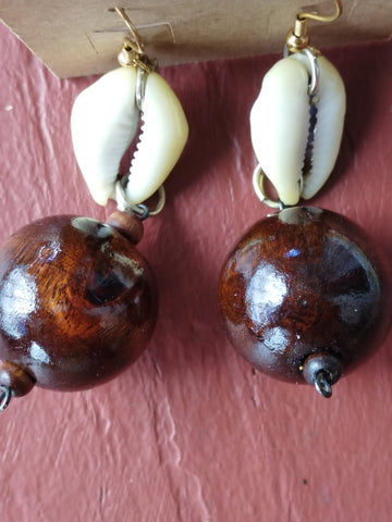 Cowrie Shell / Brown Wood Bead Earrings