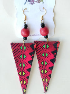 Fuchsia / Green / Black African Print Fabric Triangle Earrings