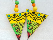 Load image into Gallery viewer, Multi Color African Print Fabric Triangle Earrings