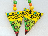 Multi Color African Print Fabric Triangle Earrings