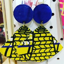 Load image into Gallery viewer, Blue Yellow Fabric Earrings