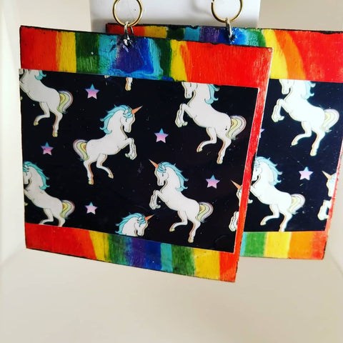 Unicorn | Rainbow Square Handmade Earrings