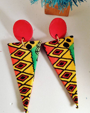 African Print Fabric Earrings