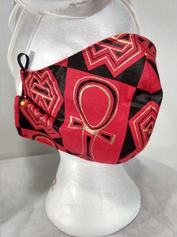 Red Black Ankh Fabric Mask MASK ONLY