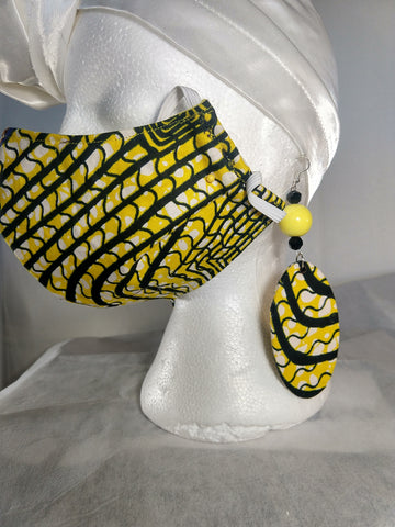 Yellow Black Ankara Print Mask with Earrings Set