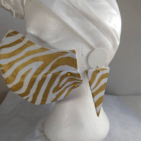 Gold Zebra/White Fabric Mask