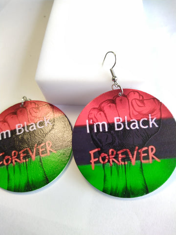 I'm Black Forever RBG Fist Earrings