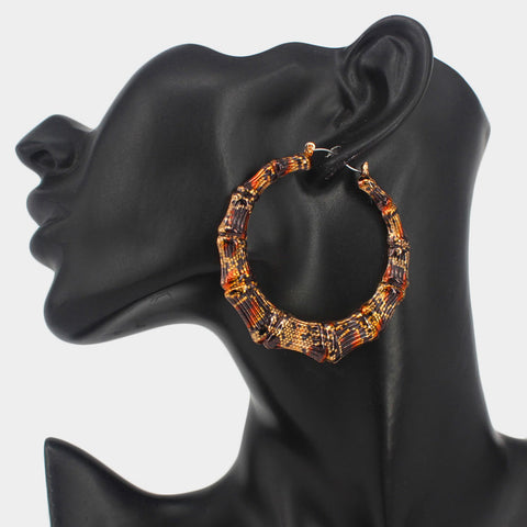 Leopard Print Bangle Earrings