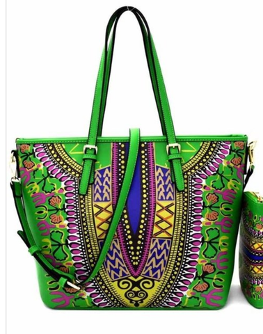 Green Dashiki Handbag