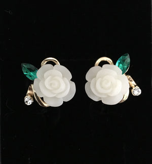 Cream Rose Flower Earrings