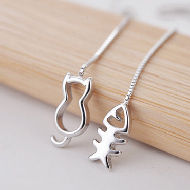 Cat & Fish Bone Earrings