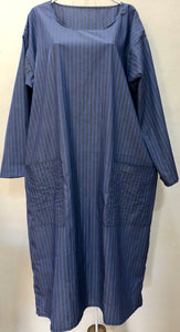 Zayzelle Periwinkle Blue Pinstripe Polished Cotton Dress