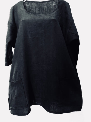 SOLD: Zayzelle Black Linen Tunic -- Shorter and Sweet