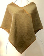 Load image into Gallery viewer, SOLD. Zayzelle Pullover Scarf Capelet in Mustard Green Linen