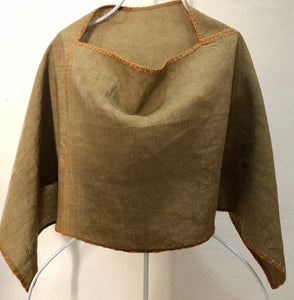 SOLD. Zayzelle Pullover Scarf Capelet in Mustard Green Linen