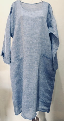 SOLD. Zayzelle Periwinkle Blue Chambray Linen Dress