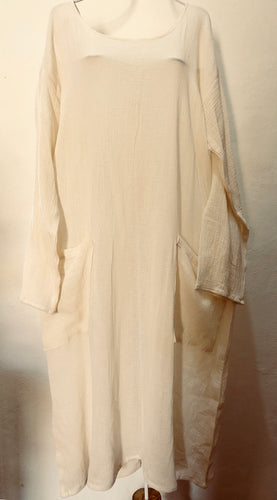 Zayzelle Beach or Pool Cover-Up in Natural Cotton Gauze