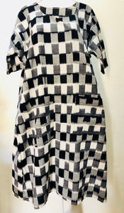 SOLD. Zayzelle Graphic B&W Ikat Cotton Dress