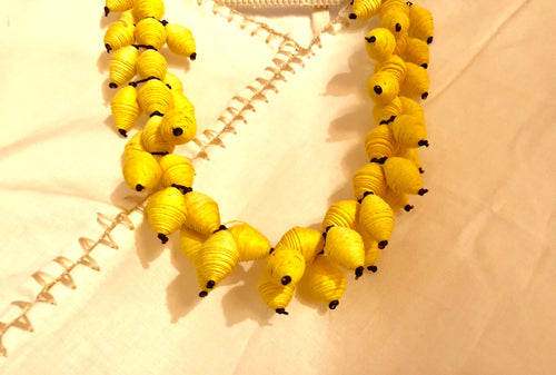 Egg-Yolk Yellow Handmade Paper Necklace from Oaxaca, Mexico