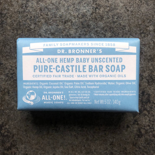 Plastic-free Pure Castile Barred Soap by Dr. Bronner's