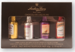 Anthon Berg Assorted Chocolate Liqueur Bottles 4 Piece 62g