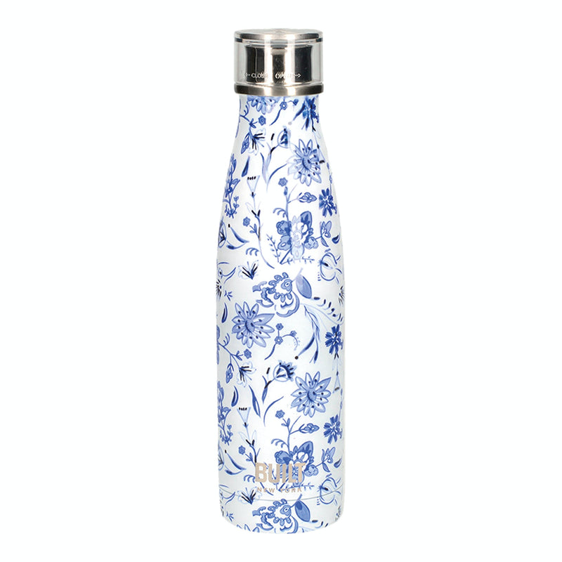 Blue Floral Built 500ml Double Walled Stainless Steel Water Bottle