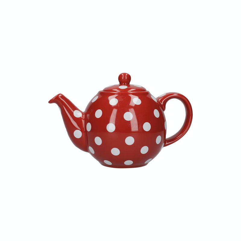 London Pottery Globe Teapot Red With White Spots