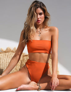 High waste Bandeau bikini set