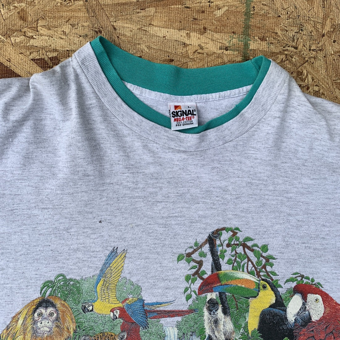 90s Rainforest 80s Tshirt with double crew neck and sleeve | L  Vintage