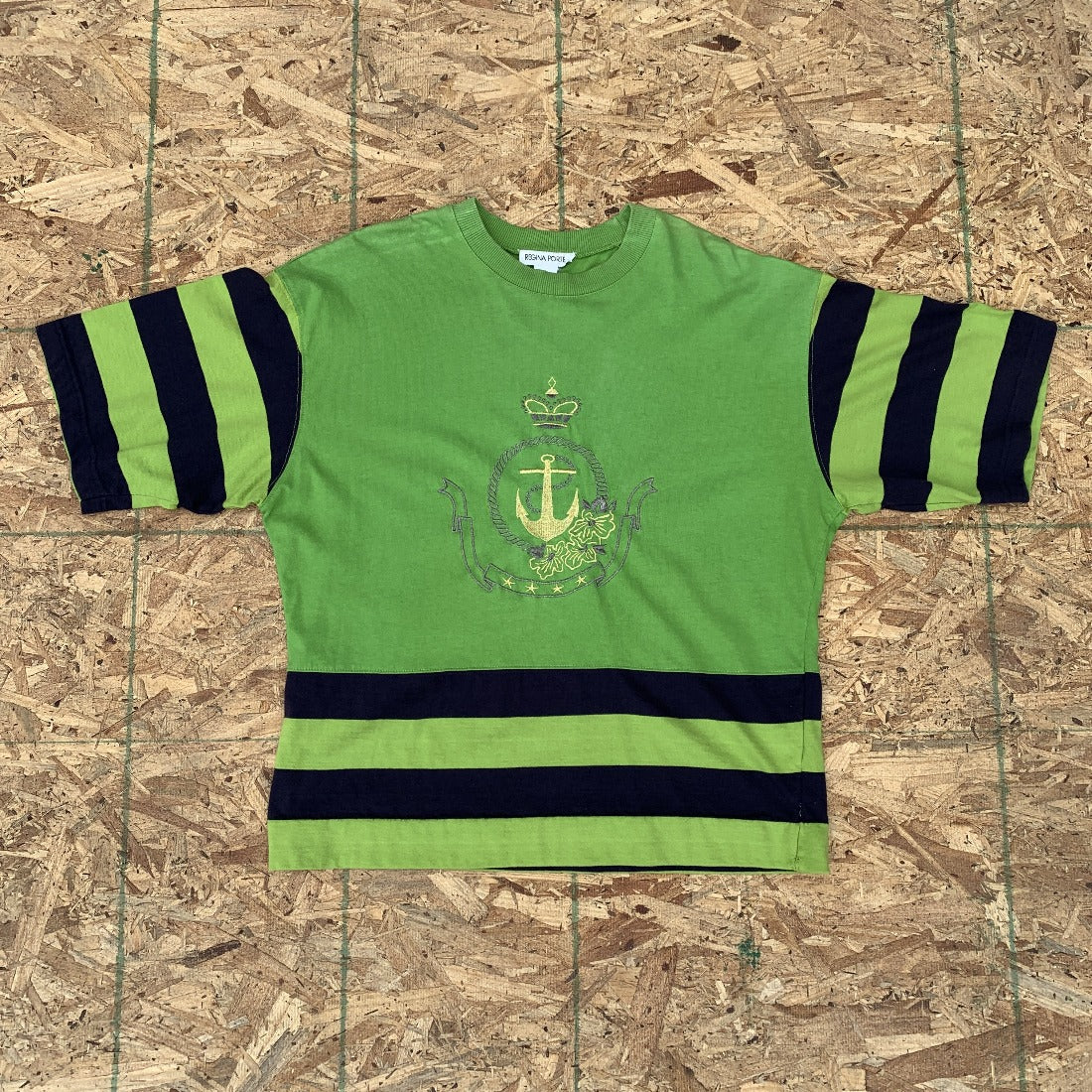 Green Top with Black Stripes and Gold Anchor