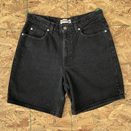 90s London Jean Black Denim Cutoff Shorts | 32