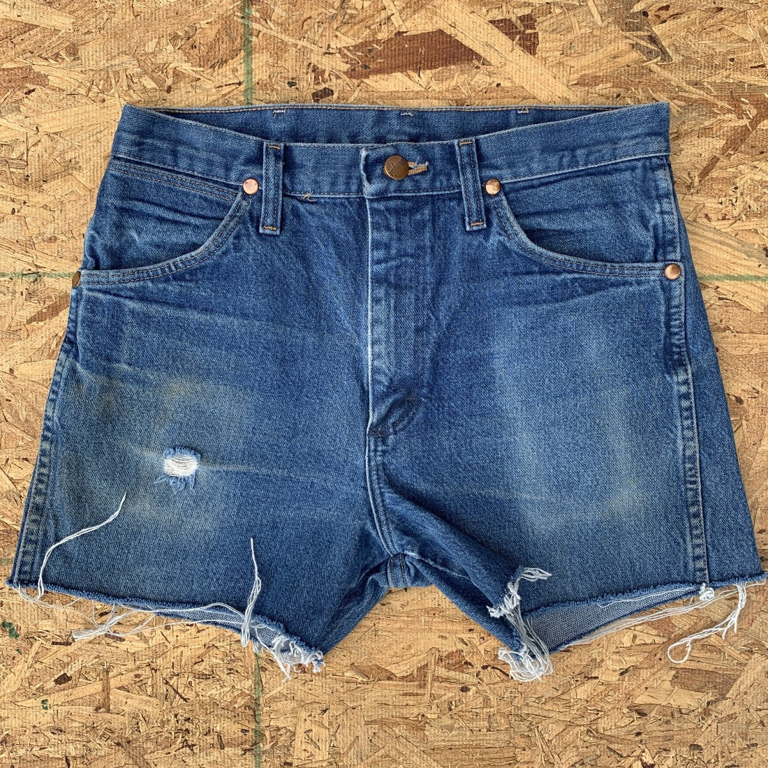 70s Wrangler Medium Wash Blue Denim Cutoff Shorts | 30