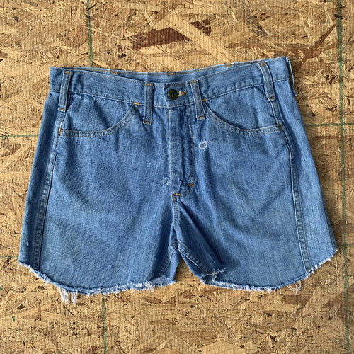 70s Lee Vintage Light Wash Denim Cutoff Shorts | 30