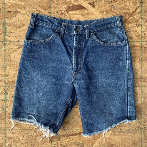 70s Levi's Vintage Indigo Wash Denim Cutoff Shorts L | 36