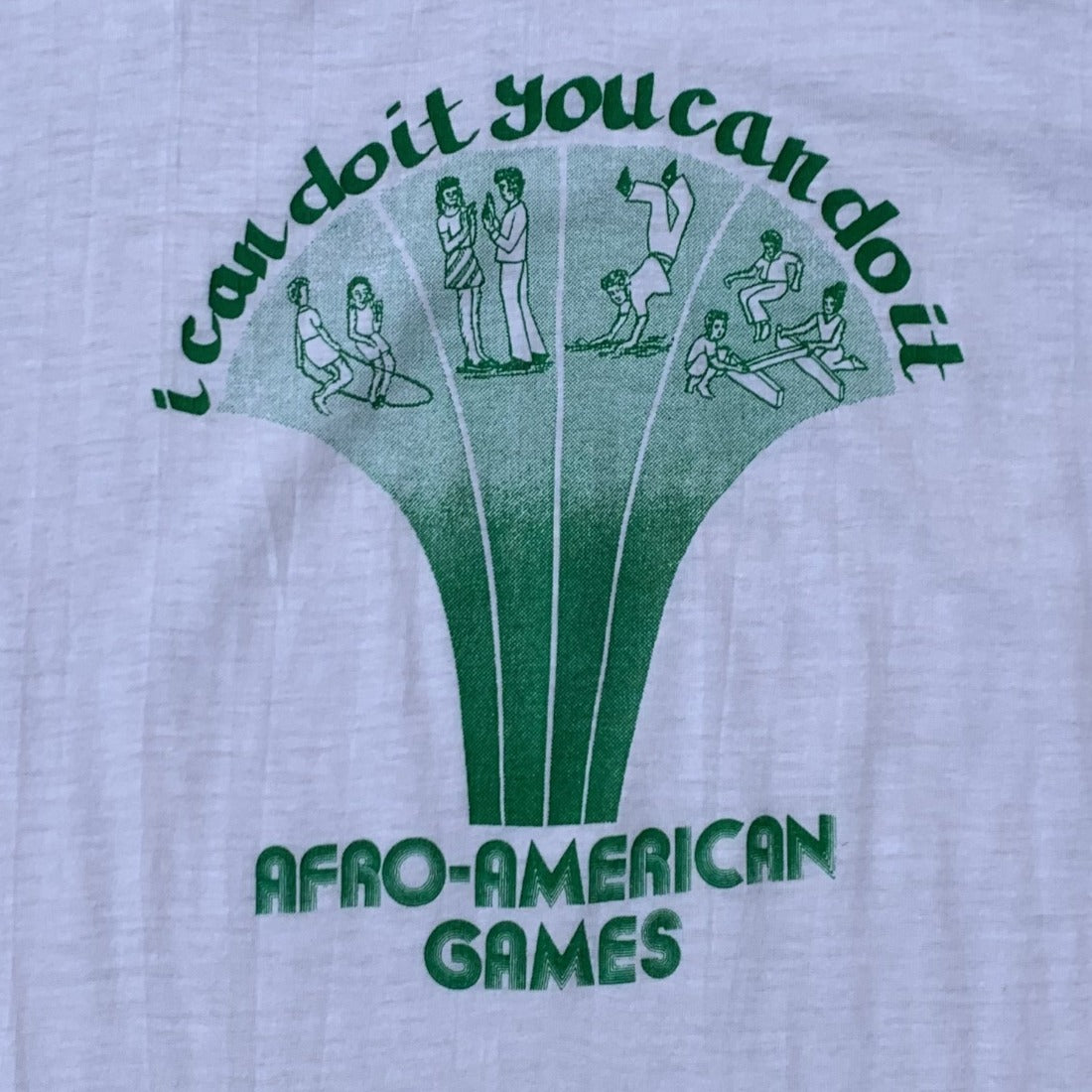 70s Afro American Games White 50/50 Tshirt | S