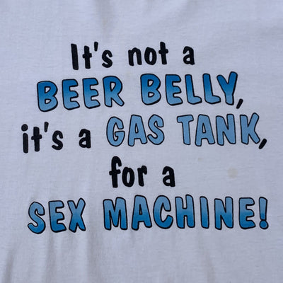 Beer Belly = Gas Tank White Tshirt Cars and Drinks | XL  Vintage 🍺