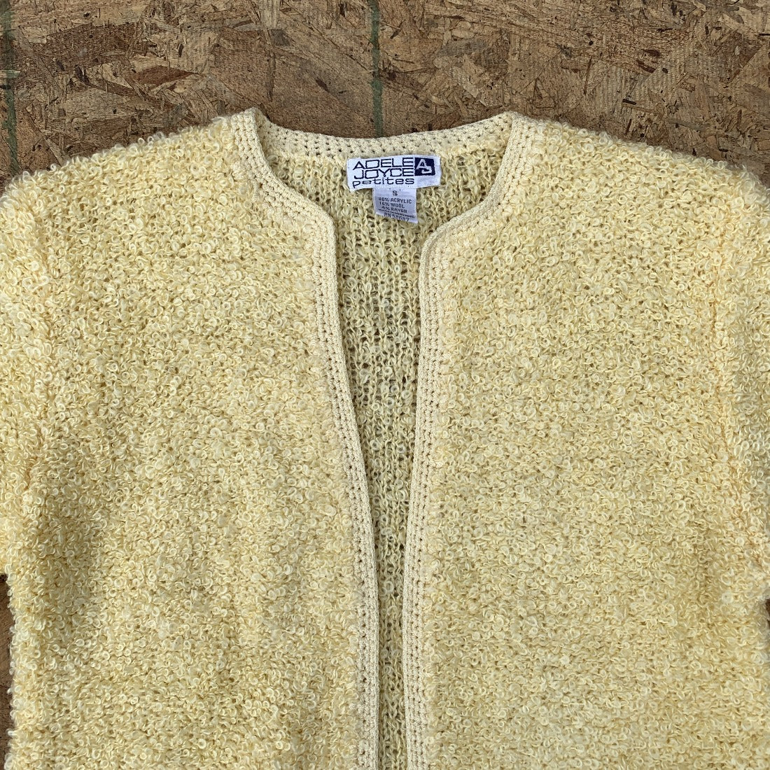 80s Sweet Pale Yellow Boucle Sweater | M