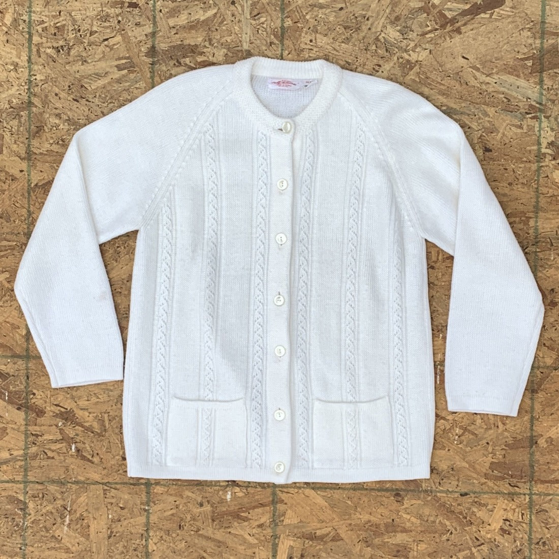 50s White Sweater Pockets Buttons | M