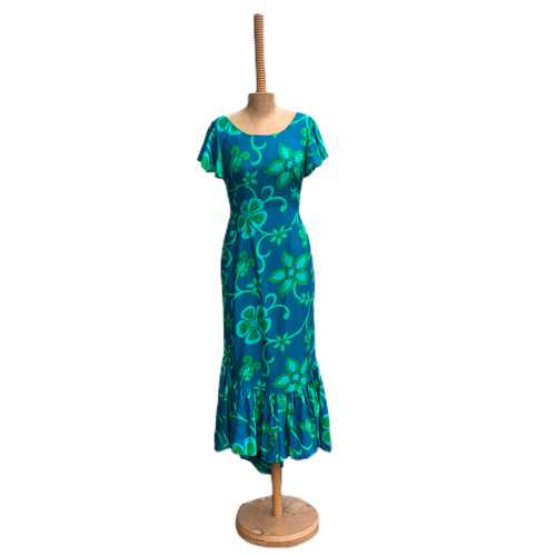 Vintage 60s Bright Fitted Hawaiian Tiki Maxi Dress with Fishtail