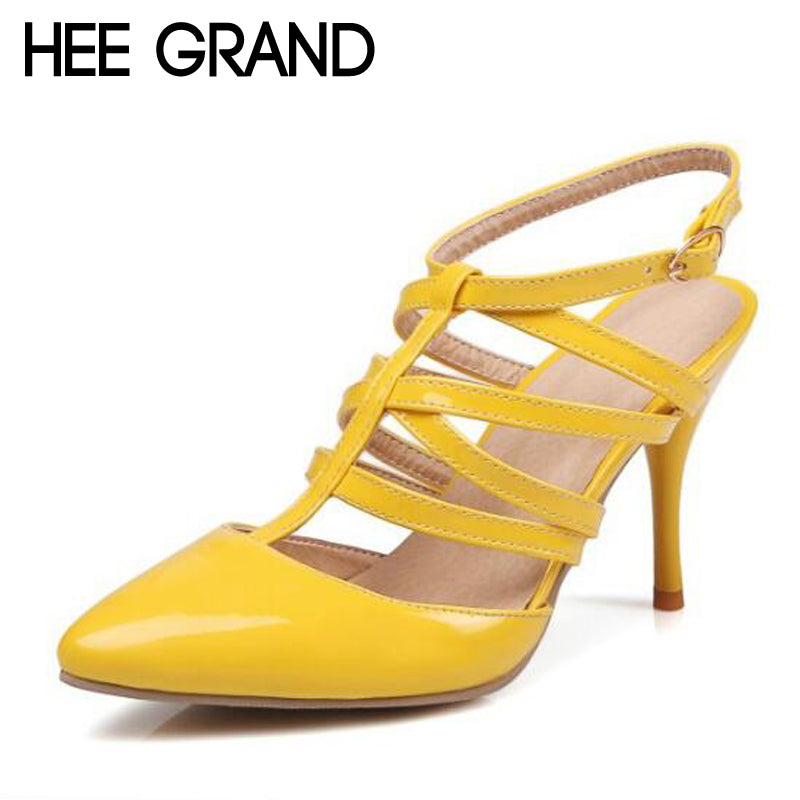 HEE GRAND 2017 Gladiator Sandals Sexy Thin High Heels Pointed Toe Summer Casual Shoes Woman OL Pumps Women Wedding Shoes XWZ3401
